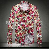 Spring 2014 long-sleeved shirt Slim Korean men's retro flower flower square collar shirt