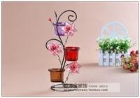 Fashion iron single flower mousse rustic decoration romantic wedding mousse candle holder chandelier