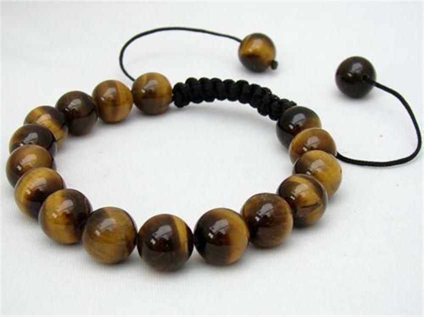 Fashion Shamballa Jewelry Rope Handmade High Quality Tiger Eye Beaded Shamballa Bracelet for Men and Women Free Shipping(China (Mainland))