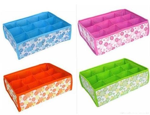 2015 HOT SALES Folding 12 Grid Storage Box For Bra,Underwear,Socks for 31*23*11CM Non-Woven Fabric(China (Mainland))