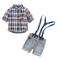 2014 New arrive children clothing suit nice boys Denim Condole belt plaid leisure suits children clothing set 6sets/lot