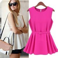 2014 plus size clothing fashion all-match ol knitted chiffon pleated sleeveless small short dress one-piece dress