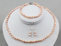 Nice 5-6mm Pink Natural Freshwater Pearls Necklace, Bracelet and Earrings Set