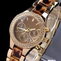 2014 New kors Gold alloy steel Roman letter dial watches Luxury Brand Women men Watch Ladies calendar diamond watches