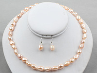 Nice  8-9mm Pink Baroque Pearl Necklace Earrings set - Pearl Jewellery