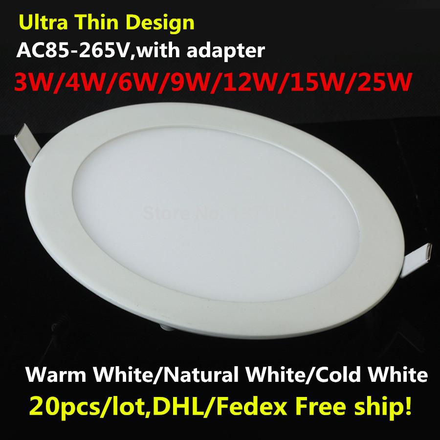 Usine de gros- dhl gratuit navire. 25w ultra mince panneau led encastré au plafond led light down light 85-265v chaud/blanc froid