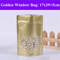 50pcs/lot 17cm*29cm+5cm(Bottom) 27mic Golden Plastic Window Bag,Stand Up Zip-Lock Pouch,Resealable Retail Bag,Plastic Pouches