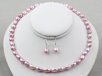 Nice  8-9mm Baroque Pearl Necklace Earrings set Purple Colour - Pearl Jewellery