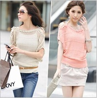 2014 plus size clothing strapless short-sleeve shirt batwing sleeve short-sleeve sweater cutout loose sweater