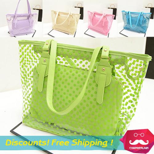 2014 new women messenger bags transparent bags lady's Shoulder handbags Polka Dot Waterproof beach bag candy color handbag(China (Mainland))
