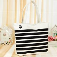 2014 casual Europe and America fashion women Classic stripe canvas bag girls handbag lady shoulder bag