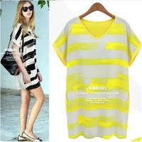 2014 summer loose plus size clothing t-shirt basic stripe chiffon top medium-long short-sleeve chiffon shirt