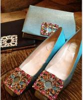 2014 hot sale! newest designed square toe low heel dress shoes rhinestone decoration