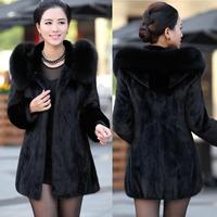 2014 Winter Luxury Rabbit Fur Coat Women's Fur Coat Hooded Large Fox Fur Collar Medium-long Slim Overcoat Plus Size 4XL