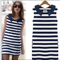 New 2014 Korean Casual Women Summer Denim Sailor Collar Sleeveless Stripe Slim Dress Fashion Tank Dresses