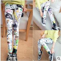 2014 Fashion Lady's Leggings Punk Skinny Flowers Printed Legging Pencil Pants Jeggings KD-002