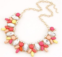 2014 new arrival hot selling female jewelry beads women's necklace alloy necklace contrast color all match sweet street necklace