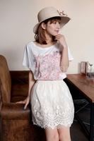 DS-S007  Women's elegant crochet mesh skirt, soft satin skirt,  fashion A-line skirts, casual summer skirt, above knee length