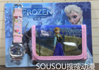 2014 Hot Sale Factory Price Free Shipping New 10pcs/lot Frozen Kids Watch with Wallet Best Gift for Girs Boys Watchs + Gifts Set