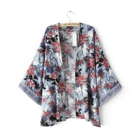 New Women Cocount Tree Pattern Print Kimono Style No limited Bust Shirt,Ladies Open Stitch Design Plus Size Tippet blouse  c426