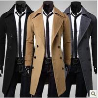 2014 new men's winter coats men's double-breasted wool coat Long minimalist luxury