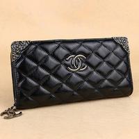Fashion black purse new charter suture zipper wallet. Lady long girl's purse