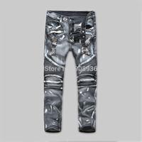New Fashion Men's Designer Jeans Famous Brand Cotton Denim knee-level folding motorcycle punk paint spots hole in jeans