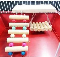 Flexible Wooden Toys Rat Mouse Hamster Parrot Hanging Ladder Bridge Shelf Cage Ladder + Swing + Shelf