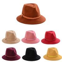 Wholesale 6pcs Women Wool Felt Fedora Hats Womens Winter Fedoras Caps Lady Spring Trilby Cap Ladies Autumn Wide Brim Felt Caps