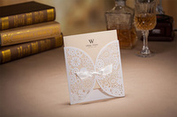 High Quality White Hollow Flowers Customized Wedding Invitation Card With Bow With Envelopes and Seals 10pcs/lot