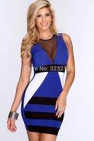 New Fashion Women Summer dress Celeb Style Slim Tunic Patchwork dresses Party Elegant Dress 2014