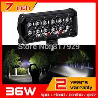 7inch 36w CREE LED Work Light Bar 10-30v IP67 adjustable brackets SUV Truck ATV Fog Light Offroad CREE LED Light Bar New Arrival