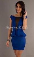 Wholesale and retail popular european club party dresses M L XL peplum dress women dress