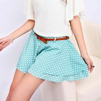new 2014 women shorts Summer Cute Retro Polka Dot Chiffon High Waist Shorts Pompon dot Shorts For Women saias feminino saia