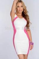 New fashion summer dress 2014 mini bodycon bandage dress patchwork party dresses