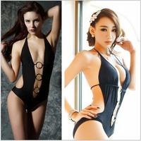 2014 new fashion hot sale one-piece swimming suit women sex bikini push up swimwear set bating suit metal ring connected  S M L