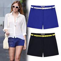 new 2014 women shorts fashion plus size casual chiffon short feminino saia black blue high waist shorts female trousers