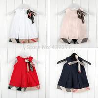 Promo 2014 new baby sleeveless dress girls dresses kids brand plaid dress childen's clothing 2T~6 wholesale