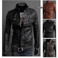 L0722, free shipping 2014 new men leather jacket Korean catwalks shall Slim leather jacket PU 3 color 4 size hot sale