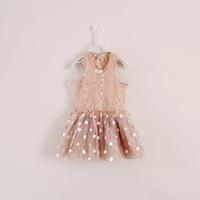 2014 New Summer Dot Girls Dresses Harper Seven Beckham Same Design Kids Vest Party Dresses 2-7Y 5pcs/lot Free Shipping