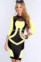 Top fashion new 2014 women summer dress three quarter casual dress elegant dress M L