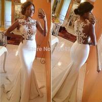 Vestidos De Novia High Neck Sleeveless Sheer See Through Sexy Lace Wedding Dresses 2014 Bodice Mermaid Satin Wedding Gown Bridal
