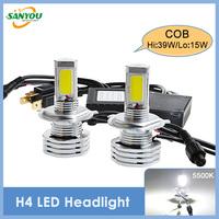 2014 New 1 Set Newest COB Led Car Headlight Available socket H4/H7/9005/9006/H11/H8/H16 lamp h4 bulb for cars