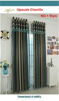 Special European modern Minimalist personality Mediterranean style curtains fabric chenille blue vertical stripes curtain