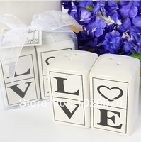 LOVE Salt & Pepper Shakers 50sets/lot=100pcs/lot for Wedding Decoration Articles Party Favors Supplies Free Shipping