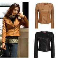 2014 autumn new coat female locomotive leather female short slim Pu leather women's coat LK03 20