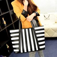 new arrive Europe and America fashion women black and white Stripe Handbags girls Shoulder Bags