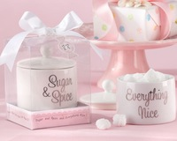"10PCS/LOT+Free shipping by  Fedex+""Sugar & Spice Everything Nice"" Ceramic Sugar Bowl+Novelty wedding favors baby shower gift"