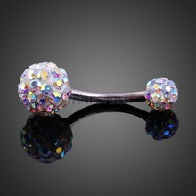 Elegant Dual Lady Ball Belly Button Ring Shiny Zircon Jewelry Mixed Color