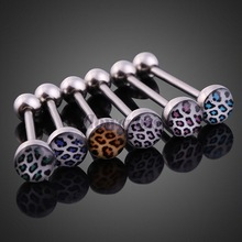 6PCS Sexy Leopard Girl Belly Button Ring Tongue Piercing Jewelry
